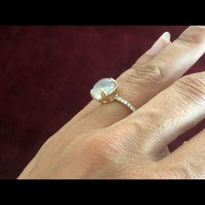 Moonstone diamond rose gold ring